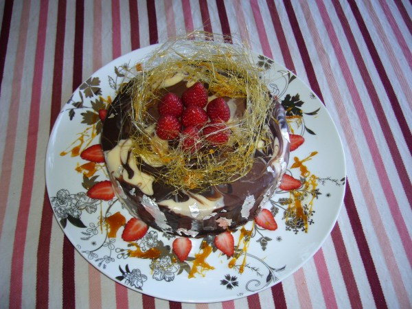 Marbled Chocolate Ganache cale with toffee halo