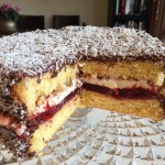 Chocolate Jam-n-Cream Lamington Cake
