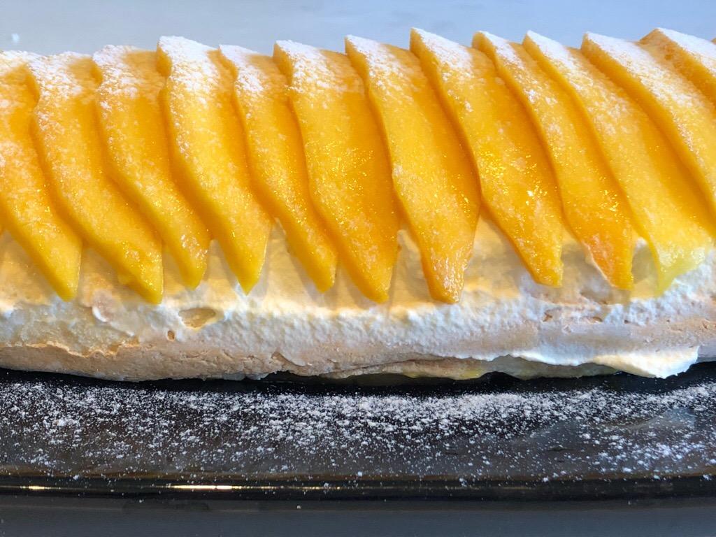 Mango Passionfruit Yuzu Pavlova Roulade