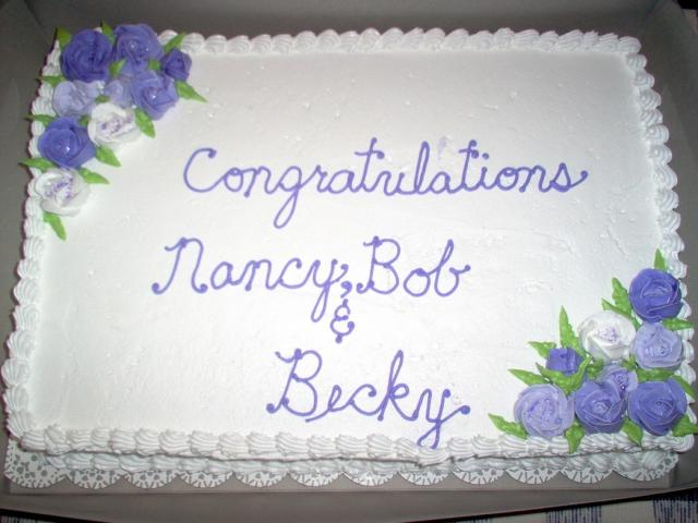 white and purple flowers retirement cake picturejpg 1