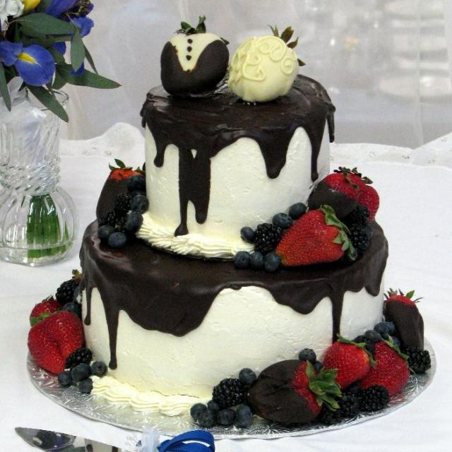 Chocolate And Strawberry Wedding Cake With Blueberries JPG