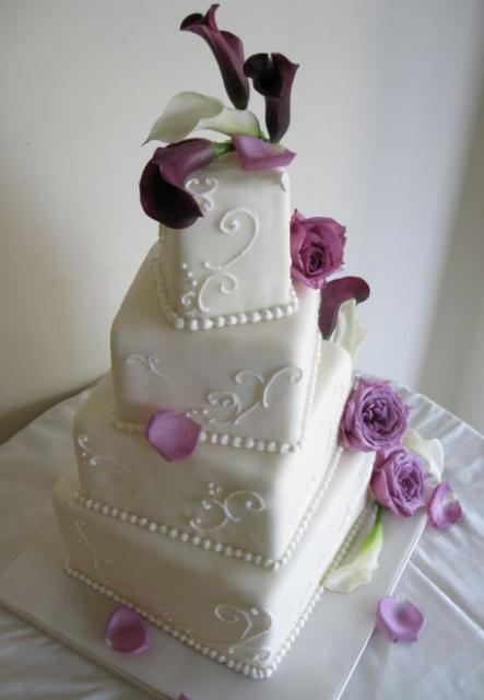 Elegant White Four Tier Wedding Square Cake With Lavender