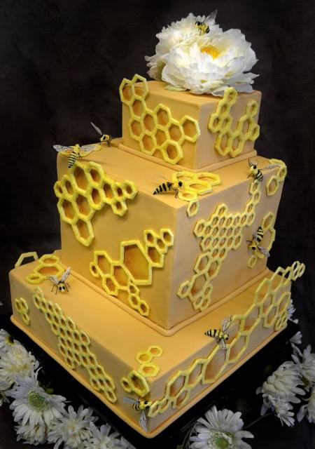 3 Tier Rectangular Yellow Cake With Honeycomb Theme With