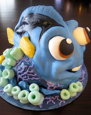 Blue Comic Fish Birthday Cake JPG