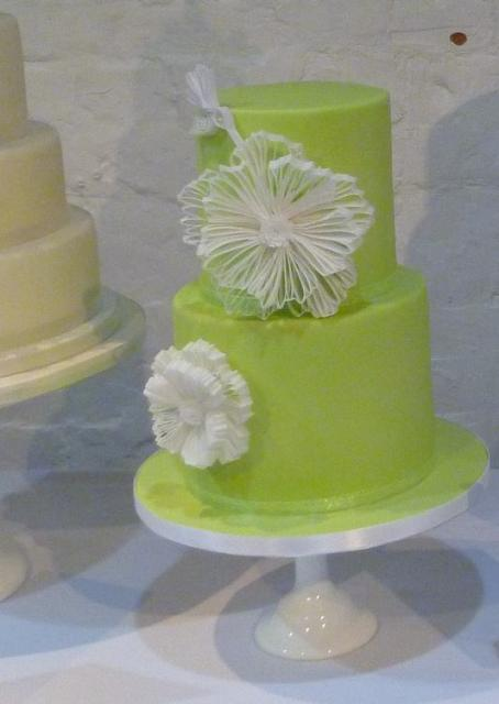 Bright Green 2 Tier Cylindrical Wedding CakeJPG