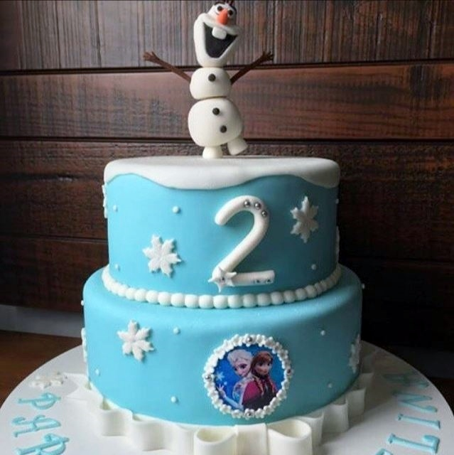 Frozen Theme Second Birthday Cake In Two Tiers & Olaf On
