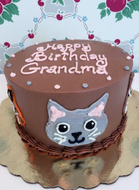 Chocolate Birthday Cake With Cat Face For Grandmother Jpg