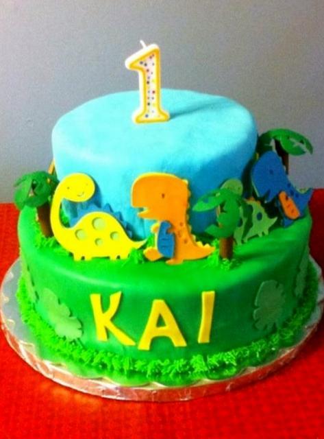 Dinosaur Theme 2 Tier First Birthday Cake JPG