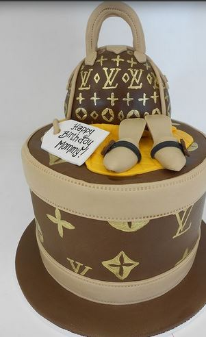 Tall Round Louis Vuitton Purse Cake PictureJPG