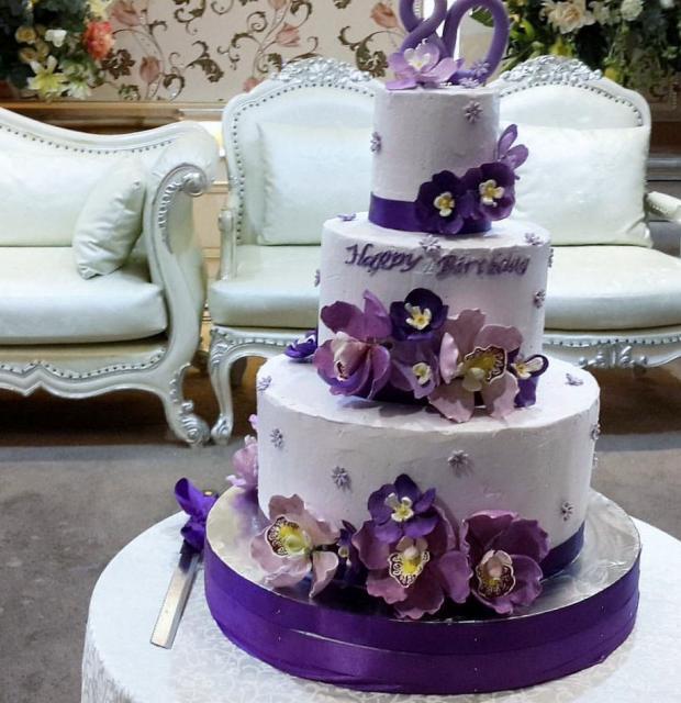 80th Birthday Cake In 3 Tiers With Purple Flowers JPG Hi