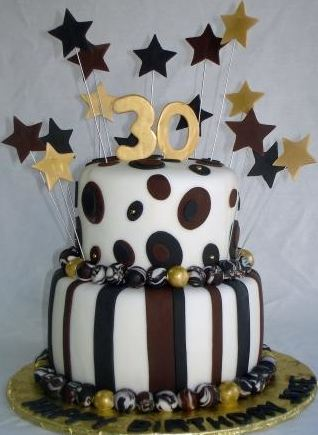 Two Tier Thirtieth Birthday Cake In Chocolate And White