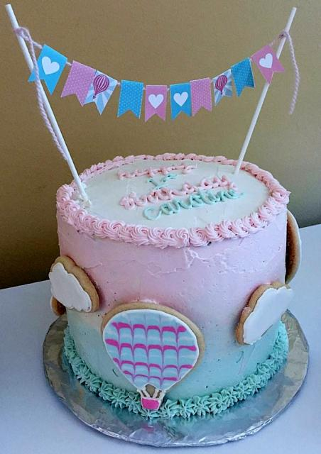 Cute Pink First Birthday Cake With Hot Air Balloon Clouds