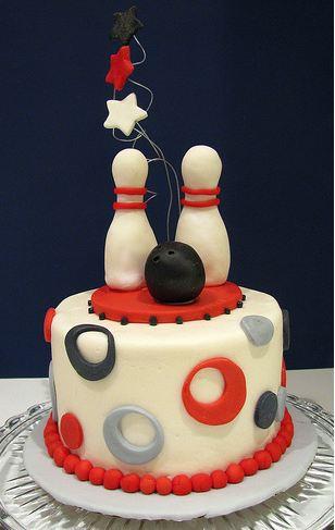 Bowling Theme Fondant Birthday Cake JPG