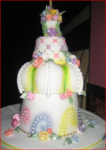 Multipletier fancy birthday cake with flower decorjpg