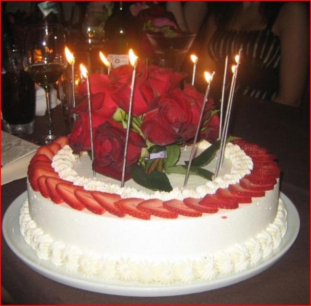 Strawberry And Cream Birthday Cake With Real Red Roses On