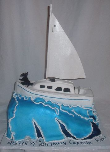White Sailboat Yacht Birthday Cake For 75 Year Old JPG
