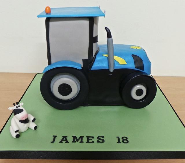 Farm Tractor & Cow 18th Birthday Cake JPG Hi Res 720p HD