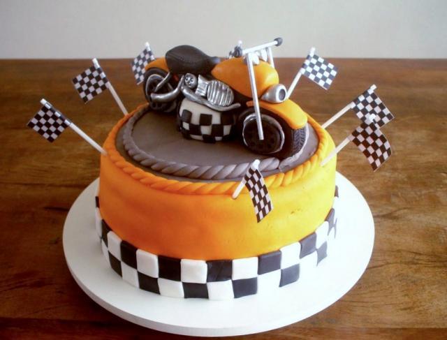Motorcycle Bike Racing Theme Orange & Chocolate Cake JPG