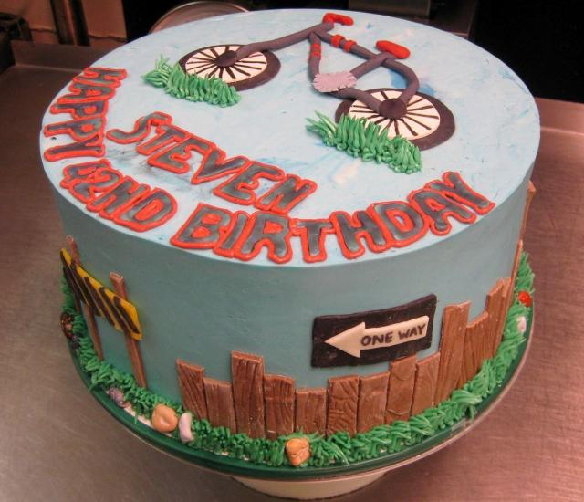 Bike Theme Birthday Cake With Fence & Street Signs JPG Hi