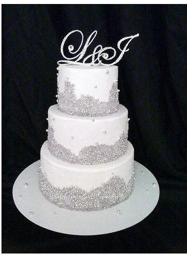 Crystal Wedding Cake With Crystal ToppersPNG