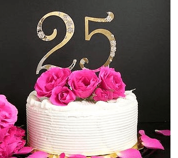 25 Anniversary Cake Topper With Crystals PNG 1 Comment