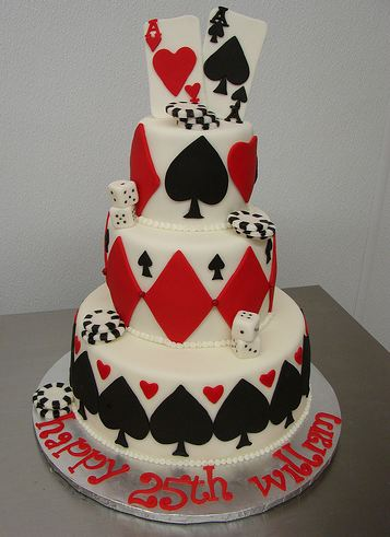 Three Tier Poker Theme Cake With Ace Of Hearts And Ace Of