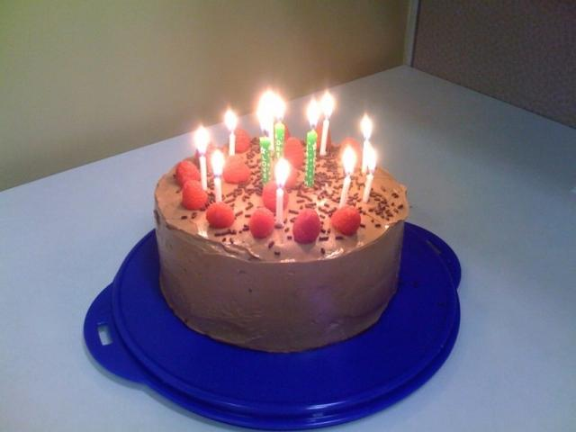 Chocolate Happy Birthday Cake With Candles Jpg 1 Comment