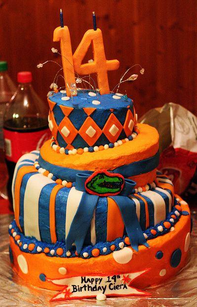 Four Tier Orange Florida Gators Theme Birthday Cake For 14