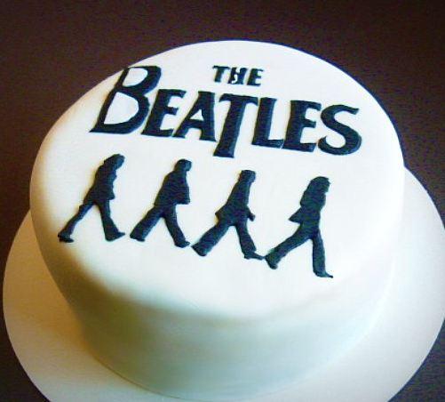 Beatles Theme White Cake JPG