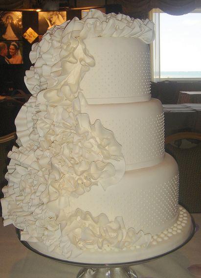 Three Tier Round White Wedding Cake With Ruffles Jpg 1