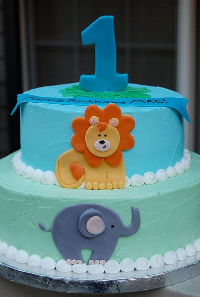 Two Tier First Birthday Cake With Lion And Elephant And