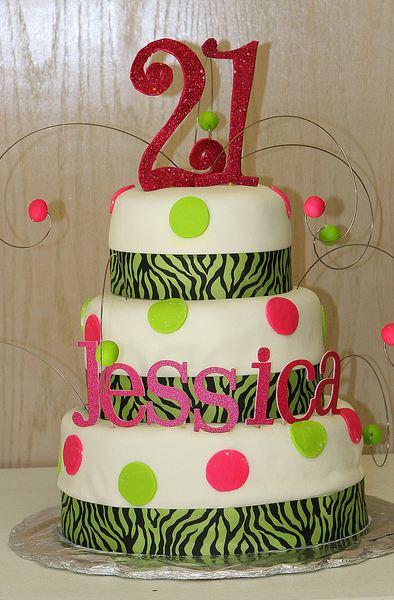 Three Tier Round White 21st Birthday Cake With Zebra
