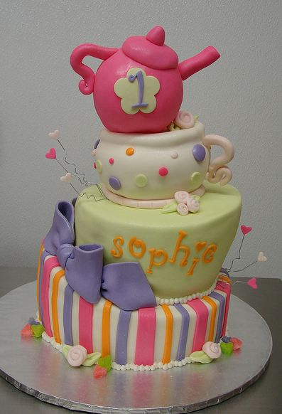 Tri Tier First Birthday Cake With Pink Teapot On Top Jpg