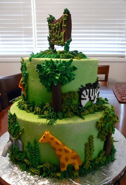 Two Tier Green Safari Adventure Theme Birthday Cake JPG