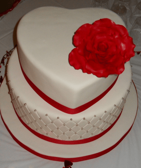 Wedding Valentine Theme Cake In White With Large Red Rose