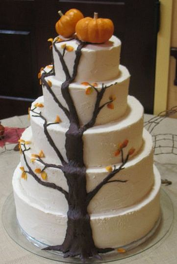 Five Tier Round White Wedding Cake With Tree Climbing From