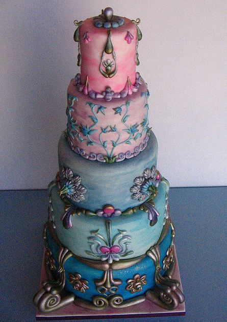 Round 5 tier antique style cakeJPG 1 comment