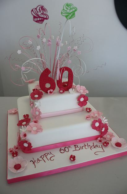 Two Tier White 60th Birthday Cake With Red And Pink