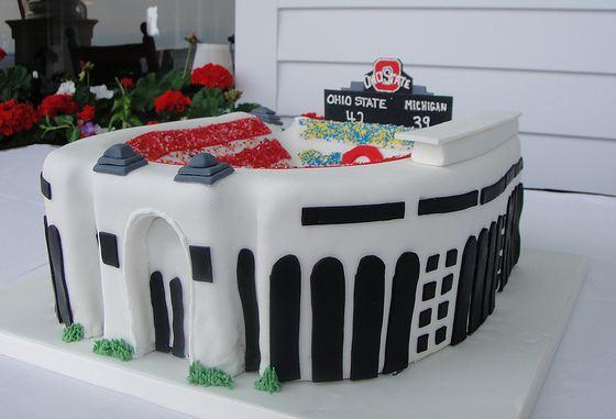 Ohio State Theme Football Stadium Cake JPG