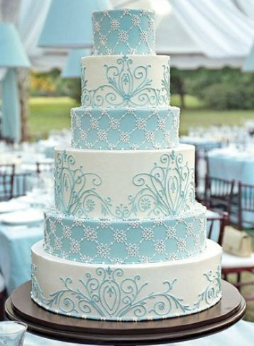 Six tier white and powder blue round wedding cakeJPG 1