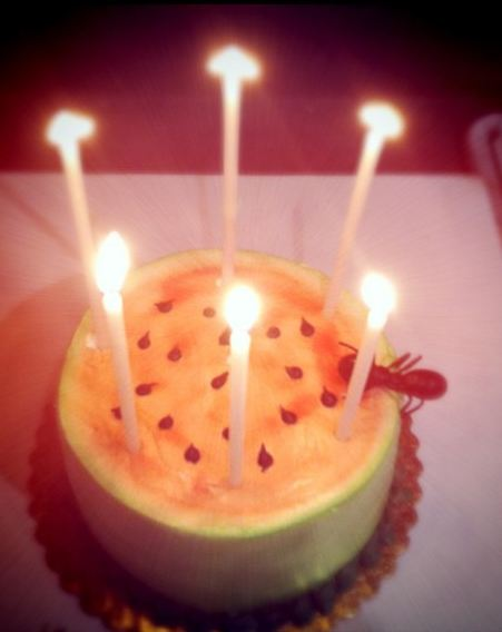 Melon Birthday Cake With Candles Jpg