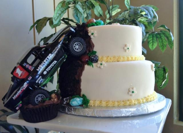 2 Tier Monster Truck Theme Wedding Cake JPG Hi Res 720p HD