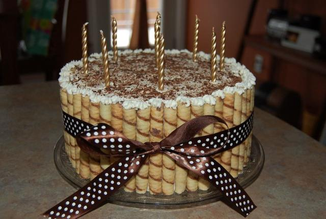Coffee And Chocolate Flavored Birthday Cake With Golden