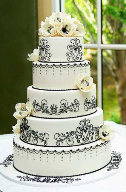 5 Tier Round White Wedding Cake With Black Patterns And
