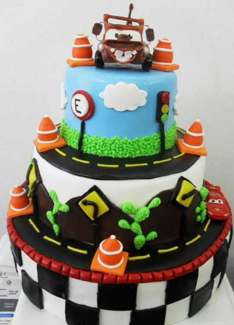 3 Tier Cars Theme Cake With Mater On Top JPG