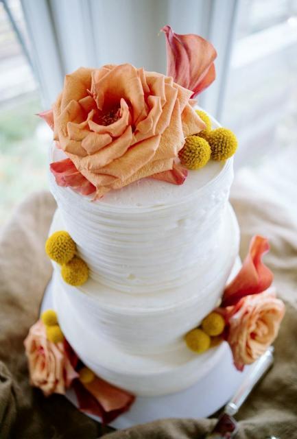 Smaller Size 3 Tier White Round Wedding Cake with Orange