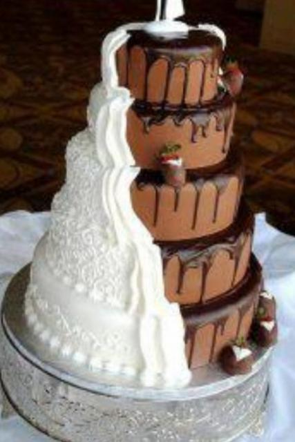 5 tier round chocolate wedding cake with white traditional