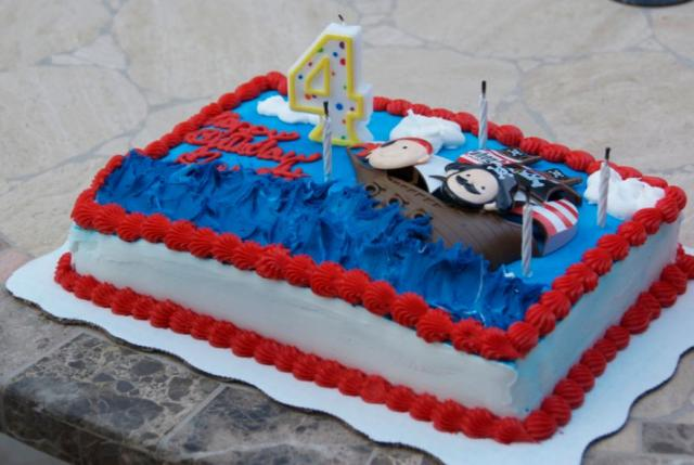 Pirate Theme Rectangular 4th Birthday Cake JPG