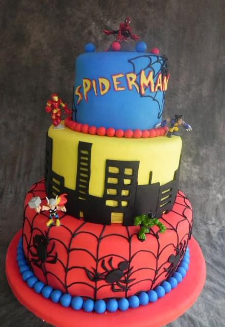 Tri Tier Spiderman Theme Cake With Thor Hulk Wolverine And