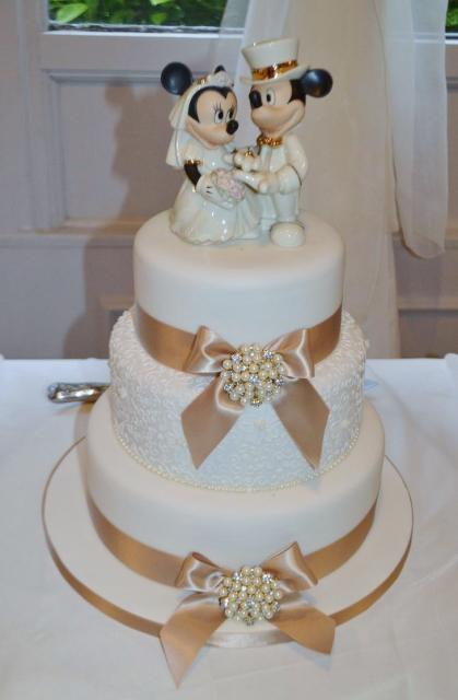 3 Tier Wedding Cake With Mickey Amp Minnie Mouse TopperJPG